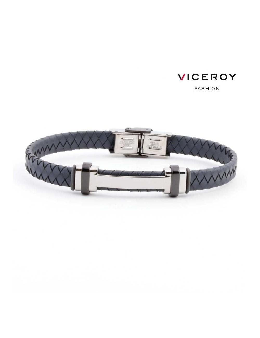 6e247bc570ff Pulsera Viceroy Fashion hombre acero H piel trenzada gris 6336P09000 ...