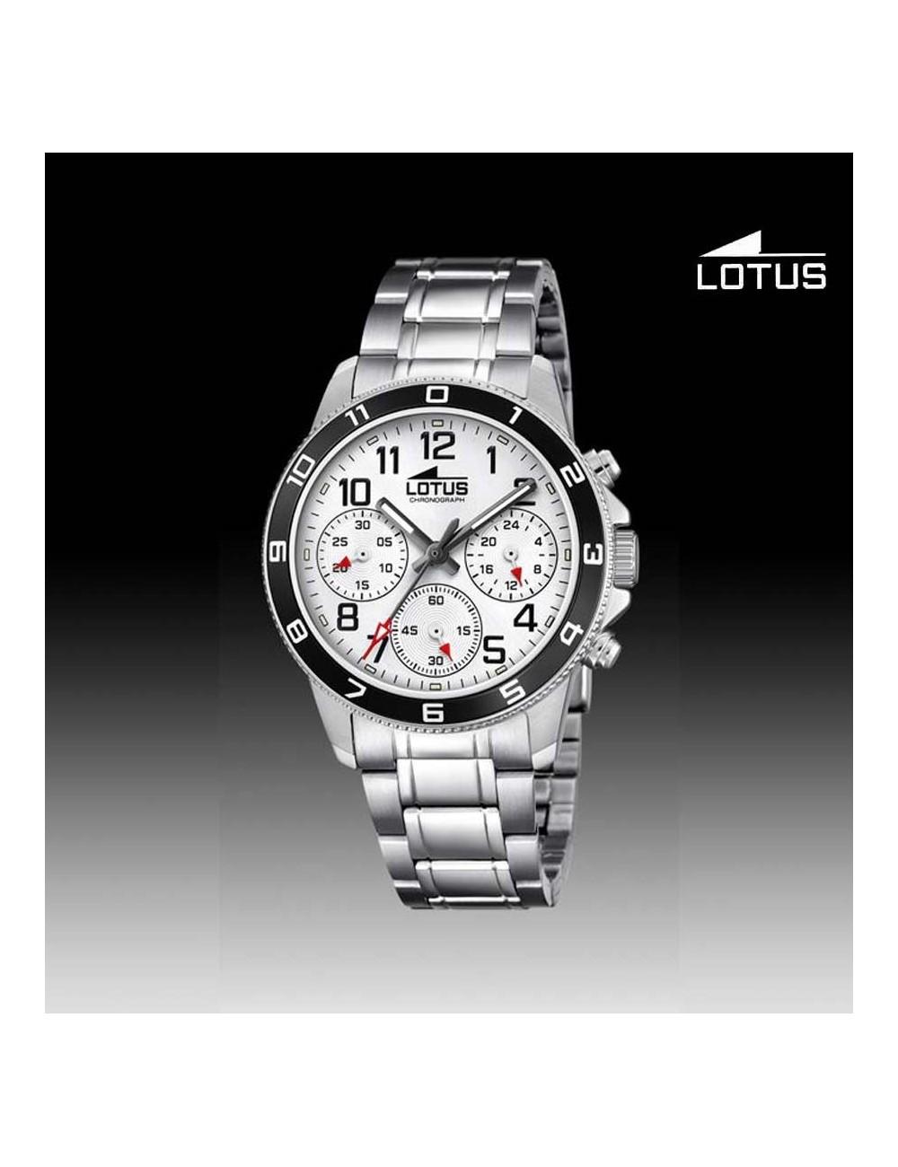 84c6df0b5856 Reloj niño Lotus crono cadena esfera blanca 18580-1 redondo ...