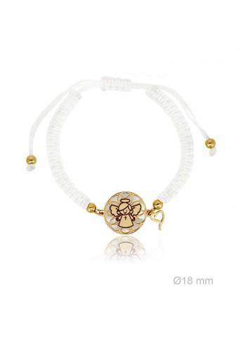 Pulsera angelote plata chapada círculos sobre nácar macramé blanco