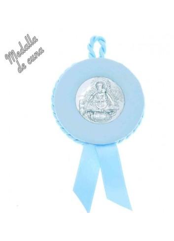 Medalla cuna Virgen Cabeza polipiel azul plateada