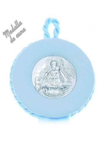 Medalla cuna plata polipiel azul Virgen de la Cabeza