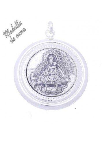 Medalla de cuna Virgen de la Cabeza aparición bisel gallones