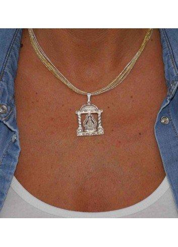Medalla plata Virgen de la Cabeza templete columnas