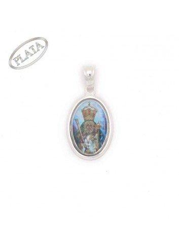 Medalla oval plata con foto Virgen de la Cabeza