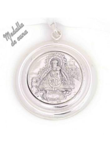 Medalla de cuna Virgen de la Cabeza bisel liso