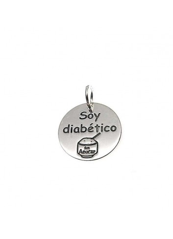 """Colgante """"Soy Diabético"""" en plata"""