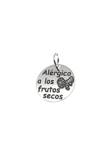 """Colgante """"Alérgico a los frutos secos"""" en plata"""
