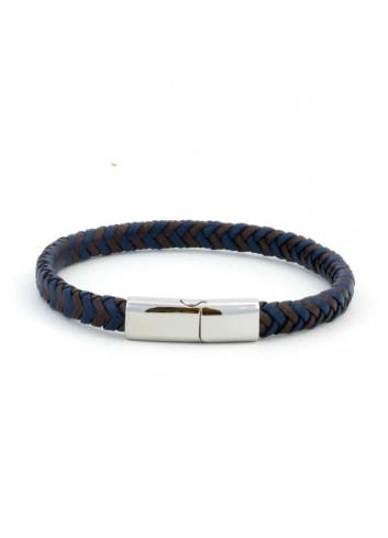 pulsera-viceroy-cuero-trenzado-marron-azul-plano