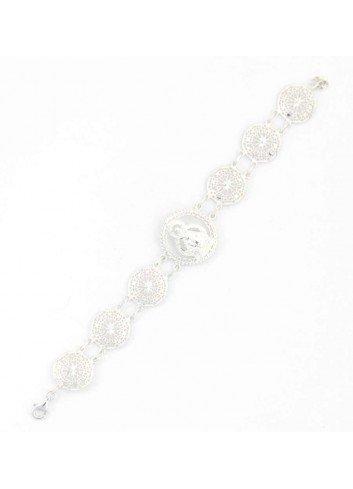 Pulsera rosetas Virgen Cabeza plata