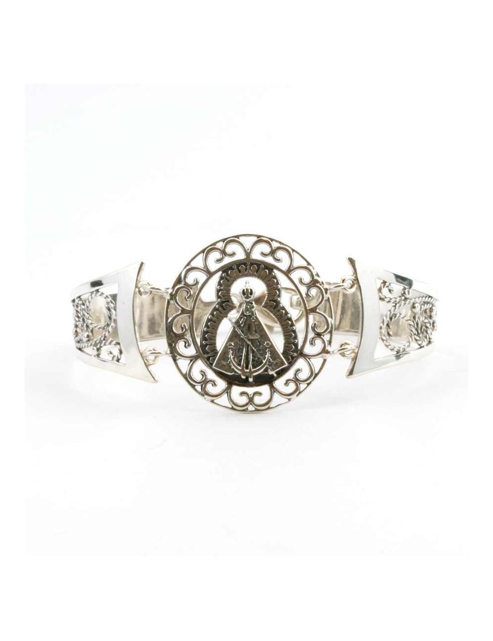 Brazalete Virgen de la Cabeza roseta redonda filigranas plata