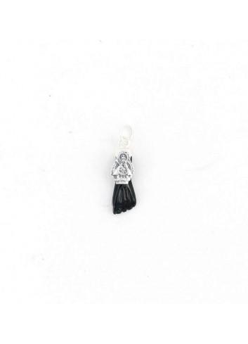 Higa Virgen Cabeza resina negra plata