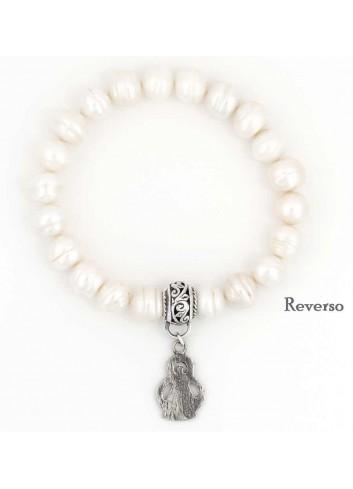 Pulsera perlas naturales con Virgen Cabeza plata