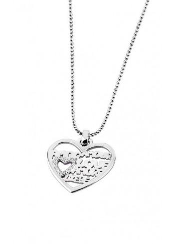 Gargantilla corazón calado amor idiomas Lotus Silver LP1282-1/1
