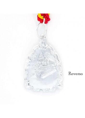 Medalla romería Virgen Cabeza entronizada triangular doble cara