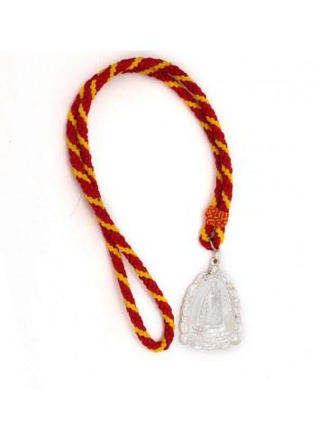 Medalla romería Virgen Cabeza aparición triangular metal plateado