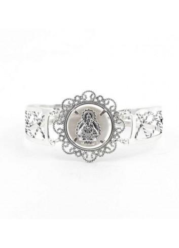Brazalete Virgen Cabeza roseta nácar plata