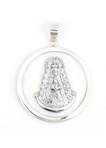 Medalla Virgen del Rocío plata redonda nácar 4CM