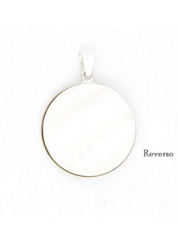 Medalla Virgen del Rocío plata redonda nácar 3 cm