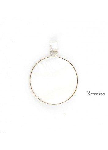 Medalla Virgen del Rocío plata redonda nácar 2,6 cm