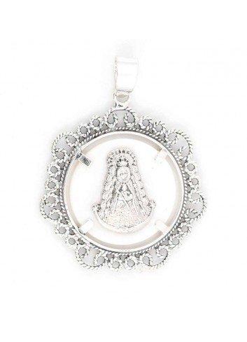 Medalla Virgen del Rocío plata bisel filigranas 3,8 cm