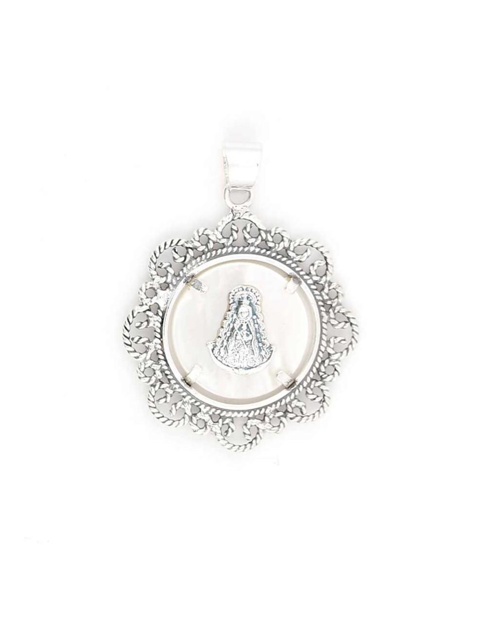 Medalla Virgen del Rocío plata bisel filigranas 3 cm