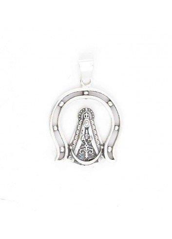 Medalla Virgen Rocío plata herradura calada 24x34 mm