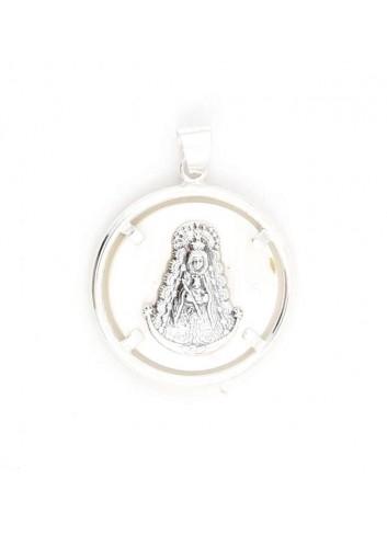 Medalla Virgen del Rocío plata nácar bisel redondo 3 cm