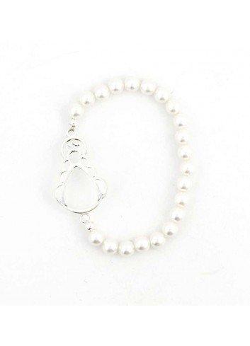 Pulsera Virgen del Rocío perlas 6mm plata calada