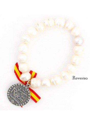 Pulsera Virgen del Rocío perlas elástica lazo España