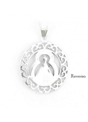 Medalla Virgen de la Cabeza plata ciculo rocallas calada