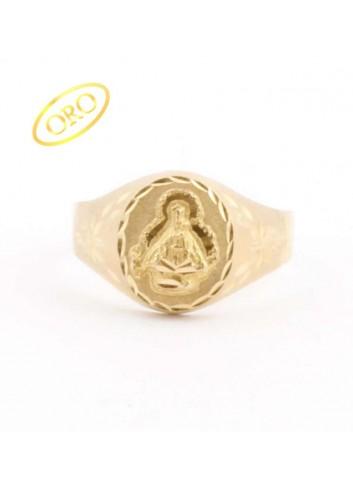 Sello Virgen de la Cabeza oro oval lapidado