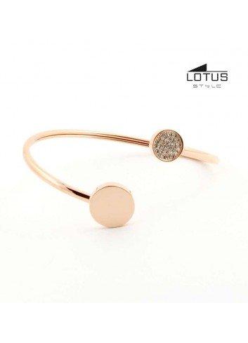 Brazalete Lotus style chapado oro rosa circulo LS1819-2-2