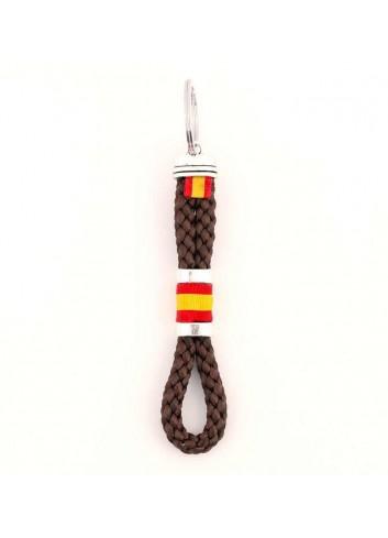 Llaveros España cordón hilo trenzado color marron