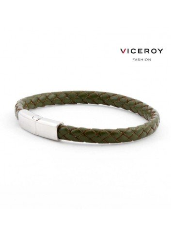 Pulsera Viceroy Fashion hombre cuero trenzado verde 6398P09016