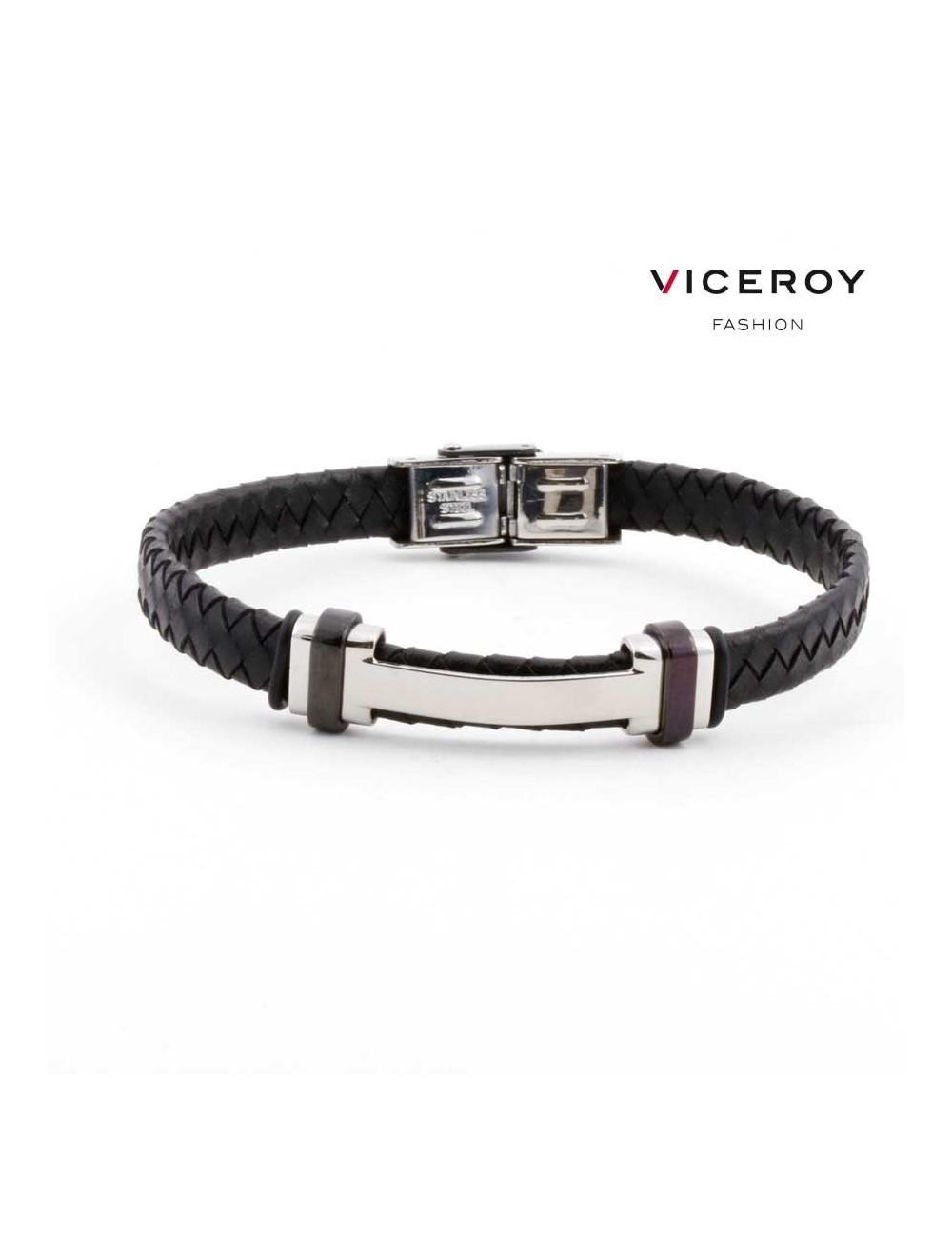 d4ef39b4ead2 Pulsera Viceroy Fashion hombre acero H cuero trenzado negro 6336P09010