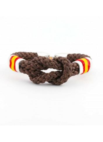 Pulsera España cordón hilo trenzado nudo marron frontal