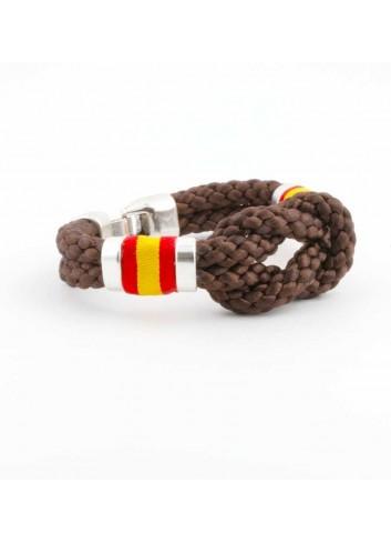 Pulsera España cordón hilo trenzado nudo marron lateral