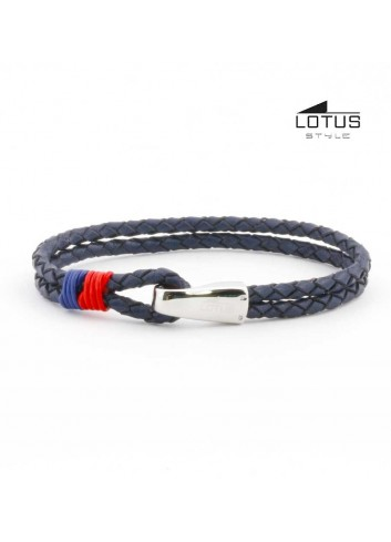 Pulsera Lotus cuero trenzado azul gancho LS1813-2-3
