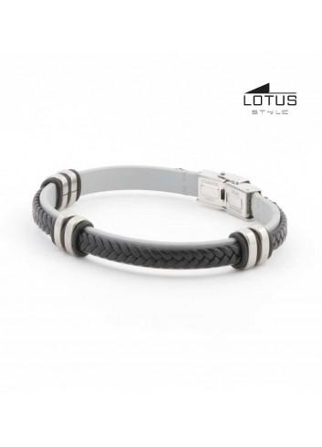 pulsera-lotus-cuero-trenzado-negro-sobre-plano-gris-ls1829-24