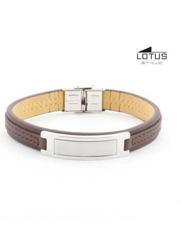 Pulsera Lotus Style chapa para grabado cuero marrón LS1808-2-1
