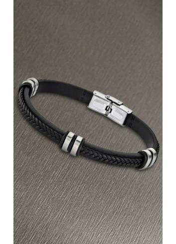 pulsera-lotus-cuero-trenzado-negro-sobre-plano-ls1829-2-1