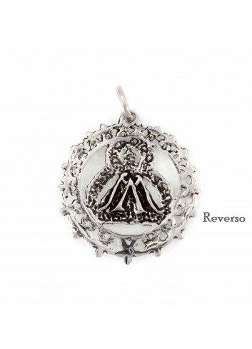 Medalla Virgen de la Cabeza plata redonda calada