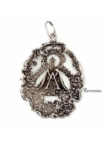Medalla Virgen de la Cabeza plata flores calada