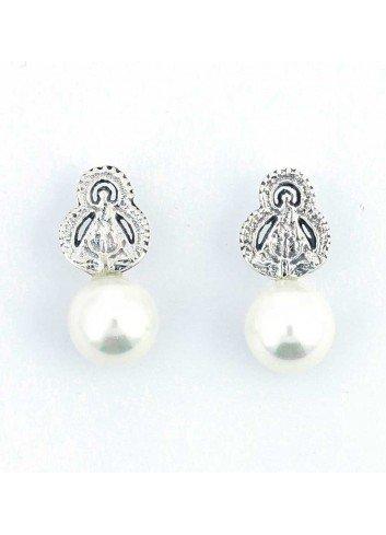 Pendientes plata Virgen de la Cabeza perla10mm