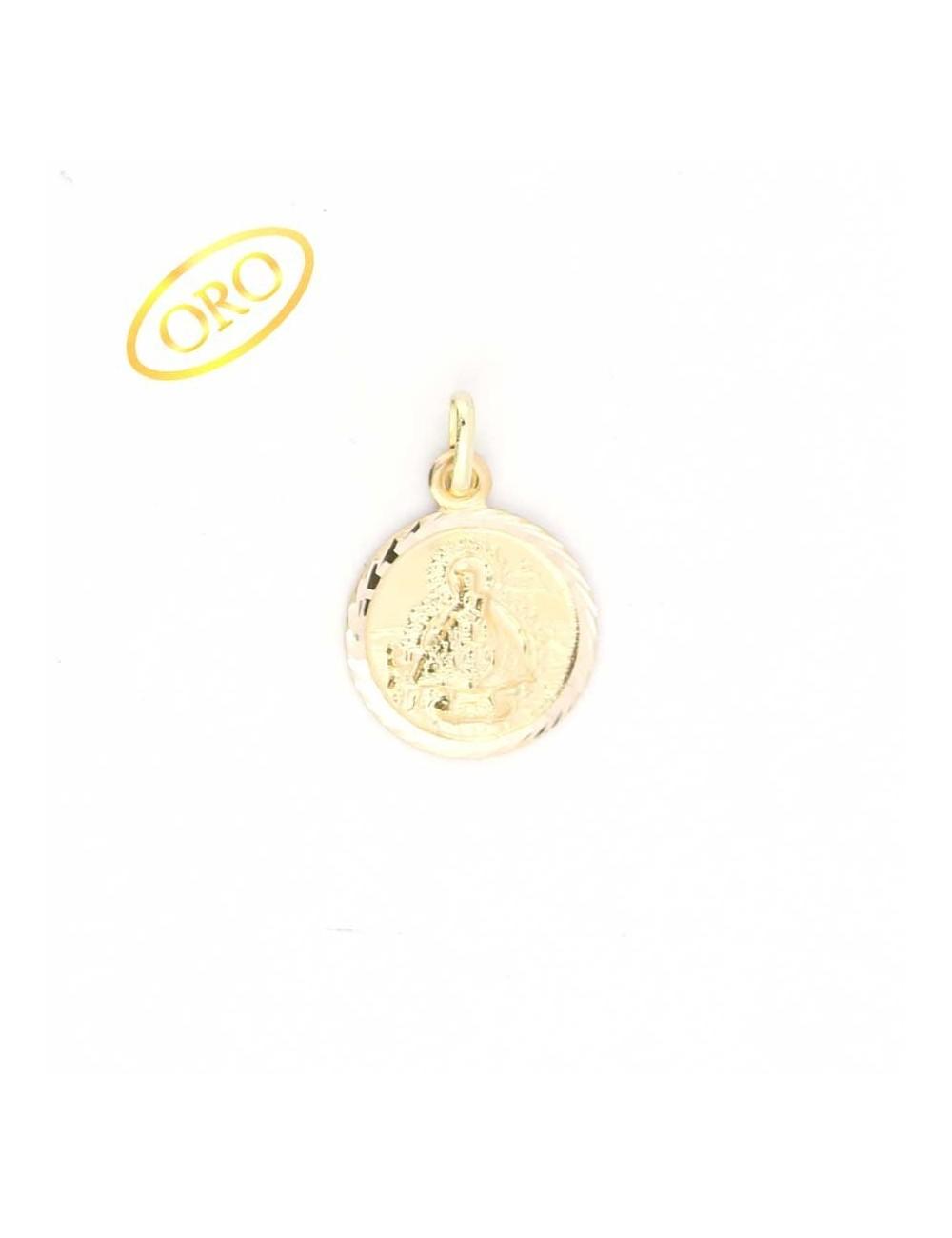 Medalla Virgen de la Cabeza oro redonda 17 mm
