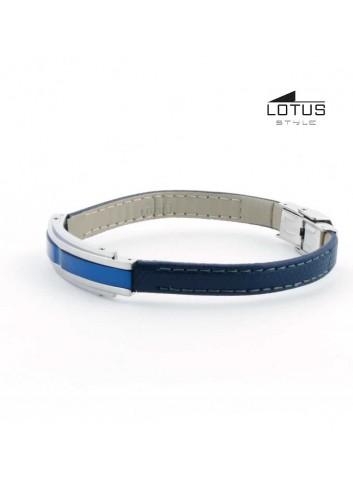 Pulsera Lotus Style hombre cuero azul oscuro acero LS1809-2-2