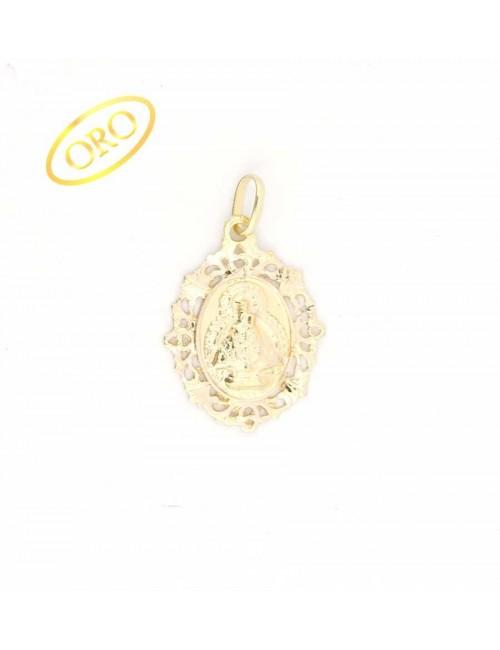 Medalla Virgen de la Cabeza oro oval bisel filigranas 19x29