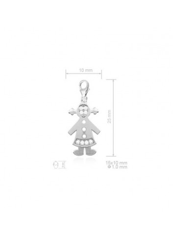 Colgante niña circonitas con mosquetón plata