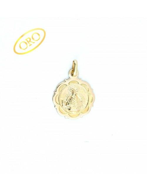 Medalla Virgen de la Cabeza oro redonda bisel ondas 17 mm