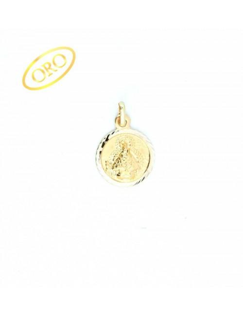Medalla Virgen de la Cabeza oro redonda bisel espiga 14 mm